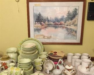 Vintage china, cups and saucers, seasonal dishes, plate rack, sets of plates