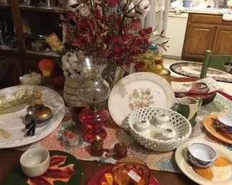 Turkey platter, Fall dishes, oil lamp
