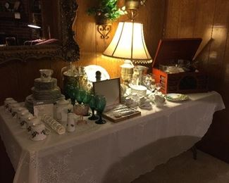 Christmas china, vintage steak knives, vintage ice buckets, Lamp, Crosley record player and radio