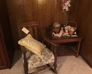 Antique rocking chair, vintage side table