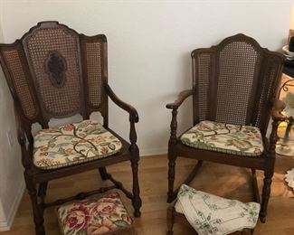 Woven back arm chairs - cottage