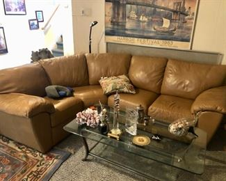 Full home contents including this saddle leather sectional sofa