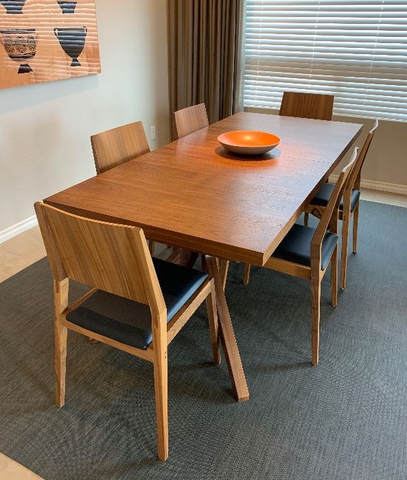 Design Within Reach Cross Extension Table w 8 Custom Made Chairs