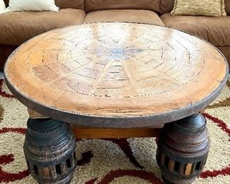 Antique Indonesian Wagon Wheel Table
