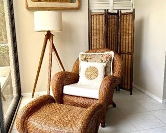 Pottery Barn Wicker Chair & Ottoman, One of Pair