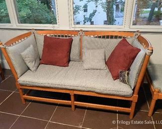 """Borge Mogenson for Fritz Hansen Vintage 2-seat spokeback sofa; one end lowers to recline for napping. Includes one footrest. Also called """"Tremme."""" Original leather straps are present, but unusable. $900"""
