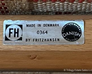 Detial of Borge Mogenson for Fritz Hansen Vintage 2-seat sofa and matching spokeback chair