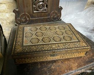 Marquetry box. Tattered silk interior, hinges need to be fixed or replaced. $25