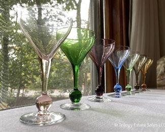 Vintage multi-color stemware, 7 goblets. $35