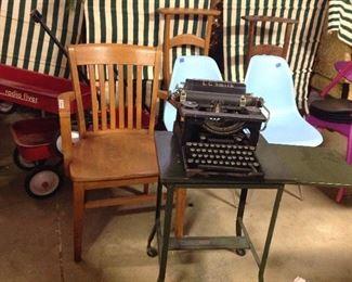 vintage typewriters and table