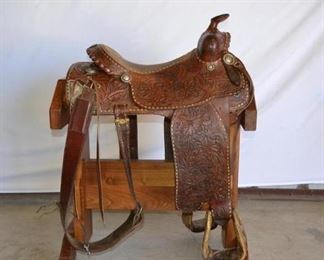 "214	  Vintage Billy Cooks Monte Forman Balance Ride Western Saddle This is Vintage Billy Cook 15 1/2"" Western Saddle version of the Monte Forman balance ride Saddle is complete with back cinch, string ties, sterling silver conchos and trim as seen in the pictures. Saddle is in good using condition. Missing one concho Both makers marks on on this saddle"