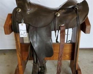 "232	  Vintage A Fork Western Saddle 16"" Vintage A Fork Western Saddle.  Vintage conchos.  Serial # 2280.  A fork swells.  Has a back cinch. In using condition."