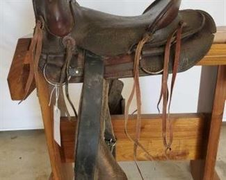 "271	  Vintage Cowboy Saddle 14"" Vintage Cowboy Saddle.  3"" Pencil roll cantle.  Needs some repair"