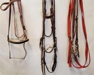 160	  Assorted Bridles with Bits and Hackamore Assorted Used Bridles with Bits and Hackamore