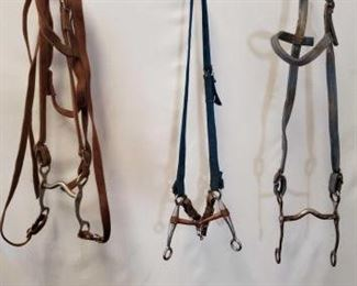 161	  Seven Assorted Cowboy Bridles, Bits and Hackamore Seven Assorted Used Cowboy Bridles, Bits and Hackamore