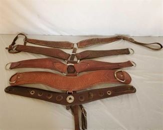 401	  Five Harness and Vintage Cowboy Breast Collars Five Harness, Vintage and roping Cowboy Breast Collars.  Some parts are missing.  One has vintage conchos.
