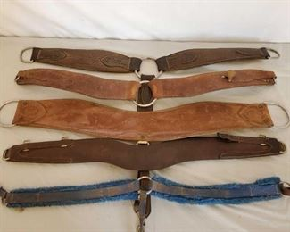 402	  Five Cowboy Breast Collars Five Cowboy Breast Collars.  Roping collar is a Billy Cook made.  Some need repair and some are missing parts