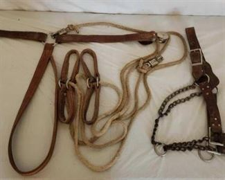 412	  Heavy Harness Leather Hock Hobbles and a Livestock Halter Heavy Harness Leather Hock Hobbles and a Livestock Halter