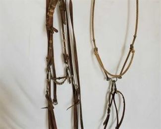 123	  Complete Bridle with Snaffle Bit and a Rope Headsetter Tie Down Complete Bridle with Snaffle Bit and a Rope Head setter Tie Down with tie down strap