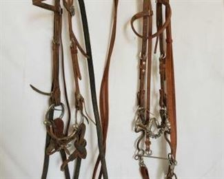 124	  Two Nice Complete Bridles Two Complete Bridles Bridle with correction bit, s shank and silver studs