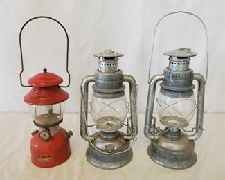 458	  Pair of Matching Wizard Oil Lanterns and a Coleman Fuel Lantern Pair of Matching Wizard Oil Lanterns No.2 C.B. and a Coleman Fuel Lantern