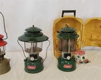 459	  3 Coleman Lanterns, 1 with carrying case 3 Coleman Lanterns, 1 with carrying case