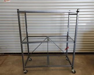 "460	  Heavy Duty Commercial Camp shelving Heavy Duty Commercial Camp shelving. Kitchen Prep Folding table 50""x40""x18"" It's a 3 shelf unit that folds down compact for easy storage or packing."