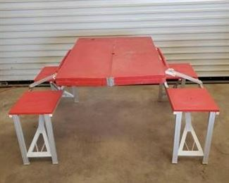 "462	  Red Folding Picnic Table with Fold out Seats, Coleman Camp Stove and 1 Propane Bottle with 2 Crates 1- Folding picnic table and seats. It's perfect for packing for that guys trip, camping, taking out to the shooting range. Tabletop measures 34""x26"" Seats measure 32 1/4 in Length x 11 1/4 in Width x 27"" in Height. Folds compact for easy transporting.  1- Coleman Camp Stove 1- Propane Bottle with Carrying Crate  1- Crate"