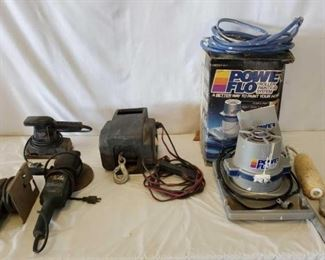472	  Power Tools and a Variety of Accessories Power Tools and a Variety of Accessories Power Flo roller painting system. Appears to have all the parts. Haul Master 2000 lb electric winch - 12 V power supply, with rolling capacity of 6000 lbs and pulling capacity of 2000 lbs, cable length is 30 ft. maximum boat size is 18ft, maximum boat weight is  5000 lbs, line speed with full load is 5 ft per minute. Black and Decker finishing sander, 1/3 sheet orbital action, straight line action, turns on. Master Craft jigsaw model 910, 115 V 25.60 cycle, turns on. Black and Decker low speed polishing/high speed sanding, turns on. Wen bench grinder 1/2 hp double insulated turns on. Coffee can of Misc drill bits 2 sets of casters brand new 4 in each box  Homart timer crate with misc tie down straps as is