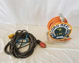 474	  2-Heavy Duty Electric Cords 2-Heavy Duty Electric Cords 1 is approximately 50 ft 1 is Tower Power brand 100 ft extension cord with reel Like new condition See pics