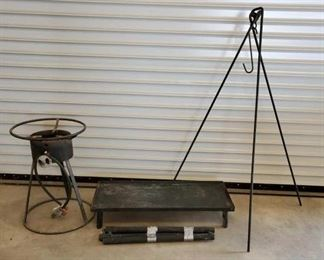 347	  Cowboy Camp Cook Lot Cook table grill 14 in x 33 in Stove 22 in x 16 in Over the fire camp pot holder rack