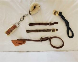 368	  Harness Leather, Chain and Nylon Hobbles all in one lot 4-Leather, Chain and Nylon Hobbles all in one lot 1-JT Hanks Caldwell, Idaho harness Leather Hobble