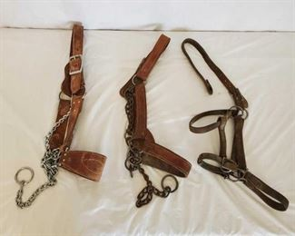 376	  3-Harness Leather Livestock Halters 3-Harness Leather Livestock Halters one needs some repair