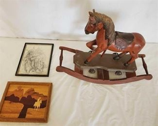 "378	  Vintage Rocking Horse and 2 Cowboy Pictures 19"" tall Vintage Rocking Horse and 2 Pictures Wooden  Art  8x10 Signed pencil art 8x10 and signed by artist Petree"
