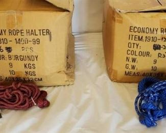 2	  New Knotted Ranch Rope Halters with 6 ft Lead Ropes still in the Box New Knotted Ranch Rope Halters with 6 ft Lead Ropes still in the Box 25 + or - Burgundy 25 + or - Royal and White Standard horse size