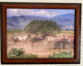 "5	  ""Captured"" Print on Canvas by Rhonda Graham ""Captured"" Ranch photography Print on Canvas by Rhonda Graham This gathering was done to get them captured to get them ready for camp after their winter off.  Horses are at the catch pens at Las Flores in Summit Valley, Ca. This print comes with a letter of authenticity, dated and signed by Rhonda Graham. Size; 24"" x 18"" including frame"
