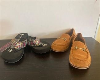 105	  Ariat Loafers and Gypsy Soule Flip Flops Ariat loafers size 11 in new condition. Gypsy Soule flip flops with real Swarovski crystals, size 11, with new tag still on them All for one money