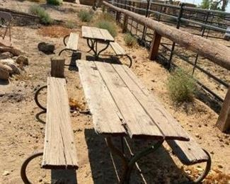 "296	  4-Picnic Tables 4-Picnic Tables 60"" x60"" including benches Some repair is needed on some All for one money"
