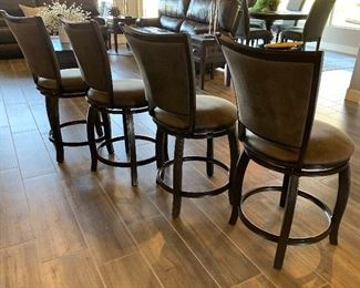 4pc 24in Montello Upholstered Swivel Barstools Counter Height Chairs40x19x22in Seat: 24inHxWxD