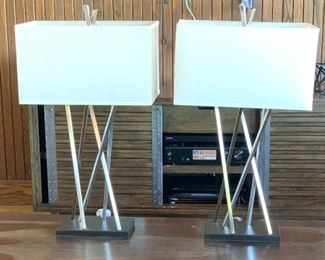 2pc Pacific Coast Contemporary Table Lamps PAIR30x17x9inHxWxD