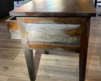 2pc Rustic Wood Plank End Tables PAIR24x20x20inHxWxD