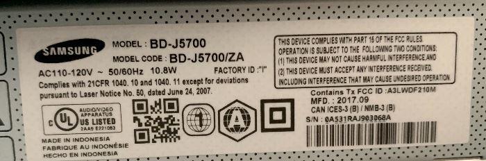 #3 Samsung Blu Ray DVD Player BD-J5700
