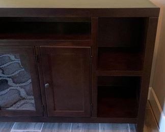 7ft Dark Wood AV Media Cabinet37x84x18inHxWxD