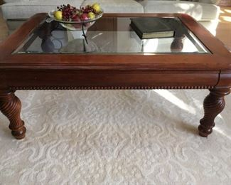 Knob Creek coffee table w/ glass insert