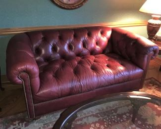 gorgeous Ethan Allen red leather Chesterfield love seat