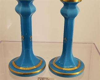 antique blue glass French candlesticks