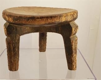 antique primitive carved wood stool