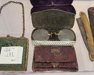 Mixed lot of antique glasses , straight razor, small ladies purses and eyeglass case.