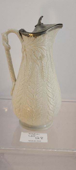 Antique Victorian Staffordshire English jug with fern molded leaves possibly Ridgeway