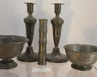 Mixed lot of antique pewter candlesticks, bamboo shaped vase and 2 bowls.